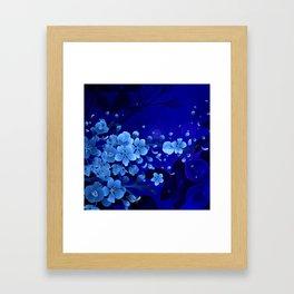 Cherry blossom, blue colors Framed Art Print
