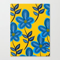 Blue Flowers and Yellow Pattern Canvas Print