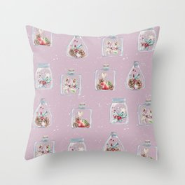Christmas Pattern Pink Throw Pillow