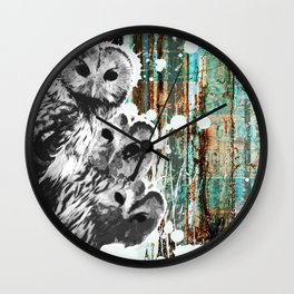 Rusty Owls in the Snow Wall Clock