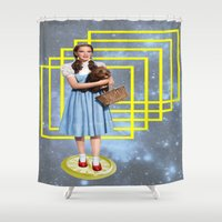 thrones Shower Curtains featuring Yellow brick road by Laura Nadeszhda