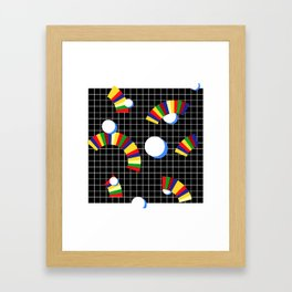 Memphis Grid & Rainbows Framed Art Print