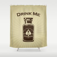 drink Shower Curtains featuring Drink Me! by René Martin