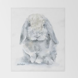 Mini Lop Gray Rabbit Watercolor Painting Throw Blanket