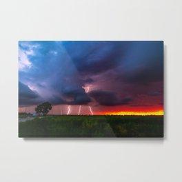 Quad Strike - Lightning Rains Down on the Oklahoma Landscape Metal Print