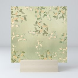 Sage Green Watercolor Woodland Leaves Mini Art Print
