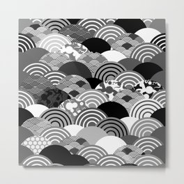 Nature background with japanese sakura flower, Cherry, wave circle Black gray white colors Metal Print
