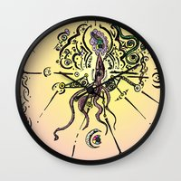 religion Wall Clocks featuring Religion 2099 by DeadSuperHero