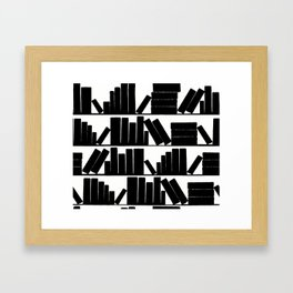 Library Book Shelves, black and white Framed Art Print