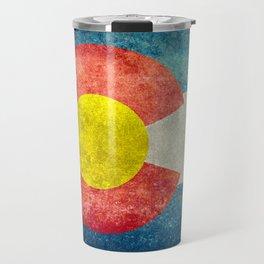 Colorado State Flag in Vintage Grunge Travel Mug