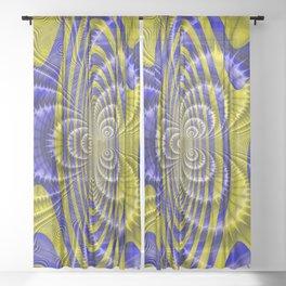 Brilliant yellow blue fractal Sheer Curtain