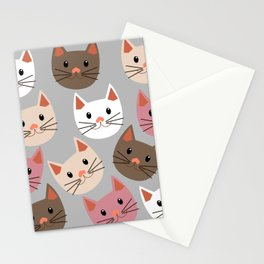 Cute Cat Faces Stationery Cards