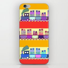 Colorful trains with Christmas gifts iPhone Skin