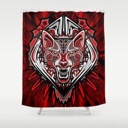 Wolf Tattoo Style Haida Art Shower Curtain