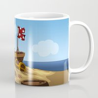pirate ship Mugs featuring Pirate by TubaTOPAL