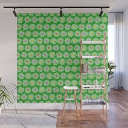 Green 70's flowers Wall Mural