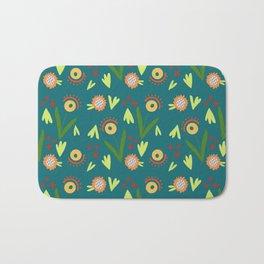 Modern Organic Floral Pattern // Hand-drawn Illustration Bath Mat