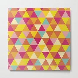 Orange yellow pink geometrical abstract triangles Metal Print