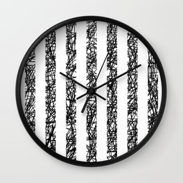 Scribble Bars - Abstract, stripy, stripey, black ink scribbles pattern, black and white Wall Clock