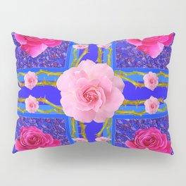 BLUE  GEOMETRIC ART CERISE & PINK FUCHSIA ROSES Pillow Sham