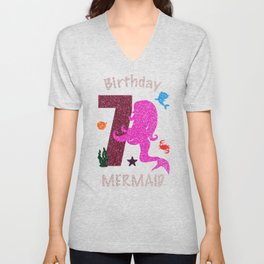 7Th Birthday Mermaid Shirt For Girl Seven Years Old 2001 Unisex V-Neck