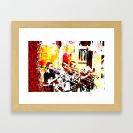Happy noise trumpet players Framed Art Print