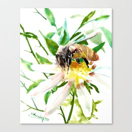 Bee and Flower, Honey Bee, chamomile herbal honey design Canvas Print