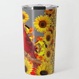 MODERN ABSTRACT RED CARDINAL YELLOW SUNFLOWERS GREY ART Travel Mug