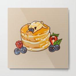Pug Pancake Metal Print