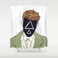 redhead Shower Curtains featuring Redhead triangle by Maria De Valcarcel