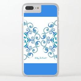 Grace Mandala x 2 - Blue White Clear iPhone Case