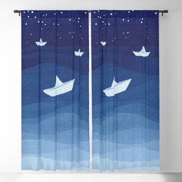 Paper boats illustration Blackout Curtain