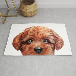 Toy poodle red brown Dog illustration original painting print Rug