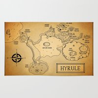 hyrule Area & Throw Rugs featuring Hyrule Map  OOT by KewlZidane