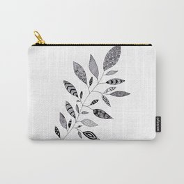 Black and white, zendangle Leaves Carry-All Pouch
