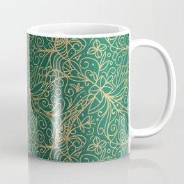 Gold and Green Tangle Pattern Coffee Mug