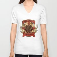 whisky V-neck T-shirts featuring Red Whisky by Corey Courts