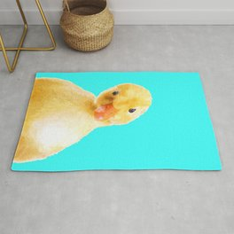 Duckling Portrait Turquoise Background Rug