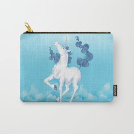 Stencil Unicorn on Teal Sky and Cloud Spray Carry-All Pouch