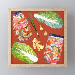 Kimchi Ingredients Spicy Fun Fermentation Watercolor Red Framed Mini Art Print
