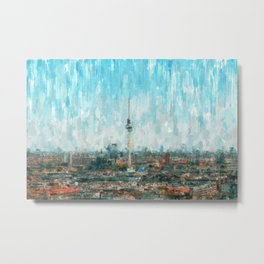 Berlin Skyline & Tv Tower, City Painting /  impressionism   / abstract landmarks drawing Metal Print