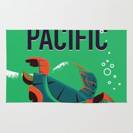 Fly to the Pacific vintage travel poster Rug