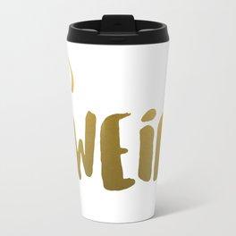 weird-gold with arrow Travel Mug