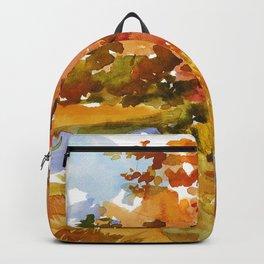 Heading to the Forest for Mushroom-Picking. Autumn Landscape. Girl's Portrait Backpack