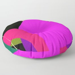 Abstract Composition in Green and Fuchsia Floor Pillow