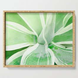 Green leaf photography Morning dew I Serving Tray