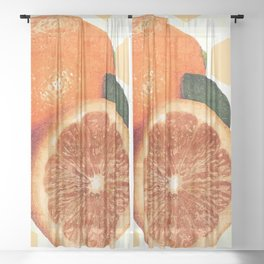 Tropical Print - Orange, Grapefruit, Tangerine - Modern Wall Art Print - Tropical Poster Sheer Curtain