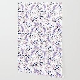Watercolor navy blue pink tropical berries floral Wallpaper
