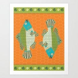 Tropical Paleo –Tilapia in Orange Art Print