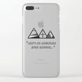 Geometric mountains, christian art, cross, 3 mountains, 3, ain't no mountain high enough qoute Clear iPhone Case